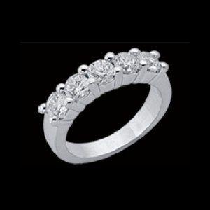 2 Carat Diamond ring 5 stone white gold ring five